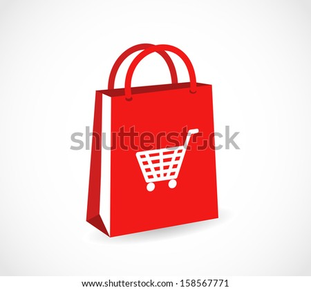 Red shopping paper bag with basket icon