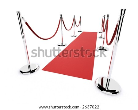 red short carpet - stock photo