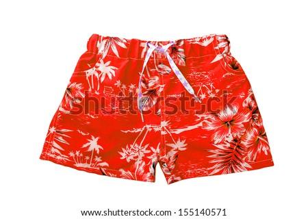 Red shorts isolated on white background  - stock photo