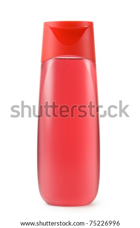 Red shower gel bottle isolated on white - stock photo