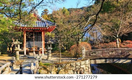 Red shrine in Kiyomizu-dera Temple, Kyoto, Japan - stock photo