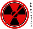 Red sign against radiation on white background. - stock photo