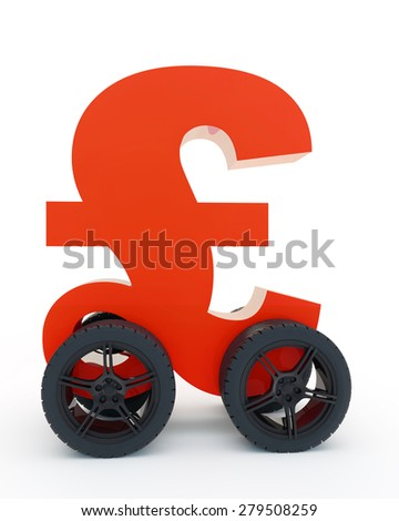 red sign pound sterling on wheels - stock photo