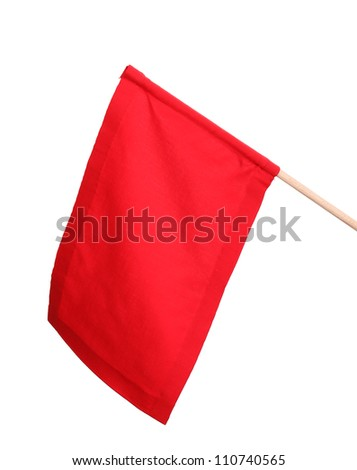 Red signal flag isolated on white - stock photo
