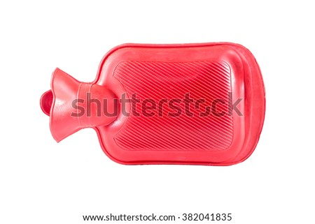 Red silicone hot water bottle on white background,Hot water bag - stock photo