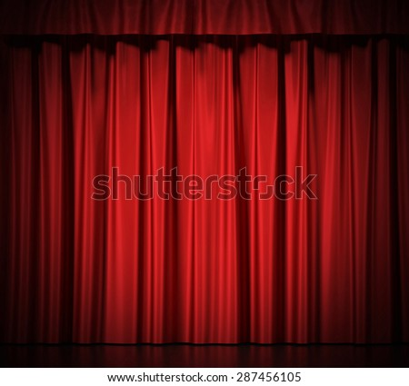 Red silk curtains for theater and cinema spotlit light in the center. 3d illustration High resolution - stock photo