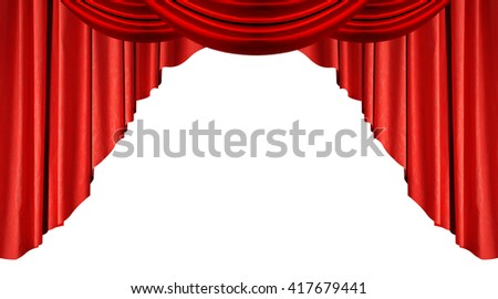 Red silk Curtains Isolated on White Background