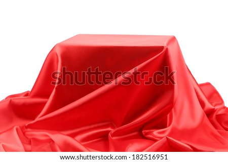 Red silk drape. Isolated on a white background.