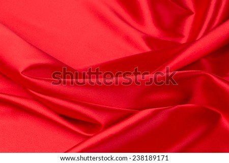 Red silk drapery. Place for text. Whole background. - stock photo