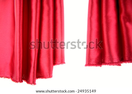 Red silk fabric with white copy space - stock photo