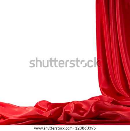 Red silk frame - stock photo