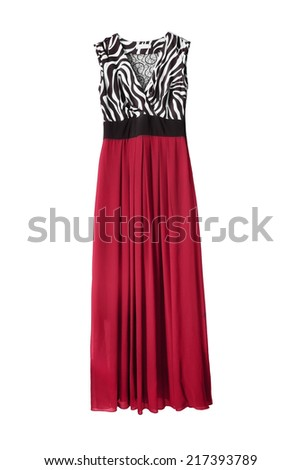 Red silk maxi dress isolated over white - stock photo