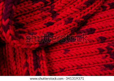 Red silk prom. I knitted a crossing pattern. - stock photo