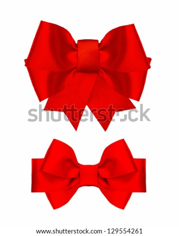 red silk ribbon bow isolated on white background