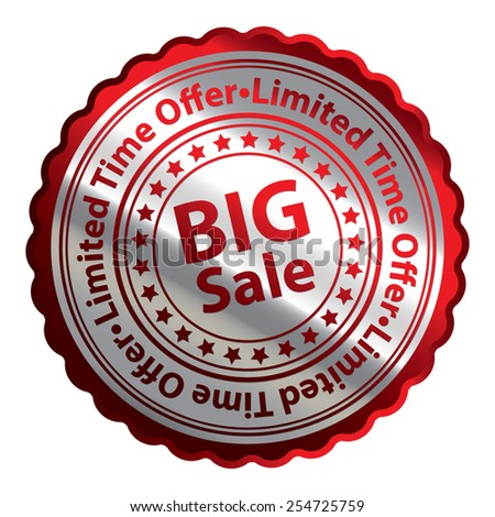 Red Silver Metallic Big Sale Limited Time Offer Icon, Button, Label, Sign or Sticker Isolated on White Background  - stock photo
