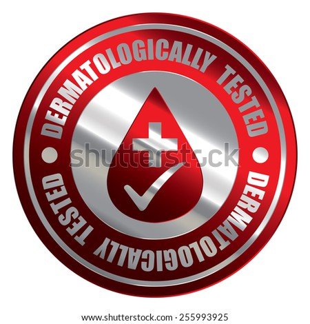 Red Silver Metallic Circle Dermatologically Tested Icon, Label, Banner, Tag or Sticker Isolated on White Background  - stock photo