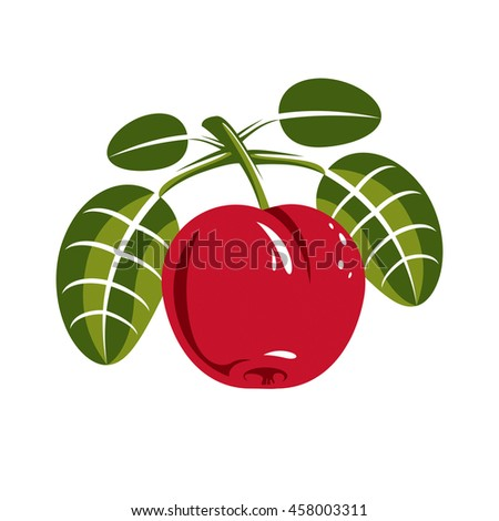 Red simple cherry with green leaves, ripe sweet berry illustration. Healthy and organic food, harvest season symbol.  - stock photo