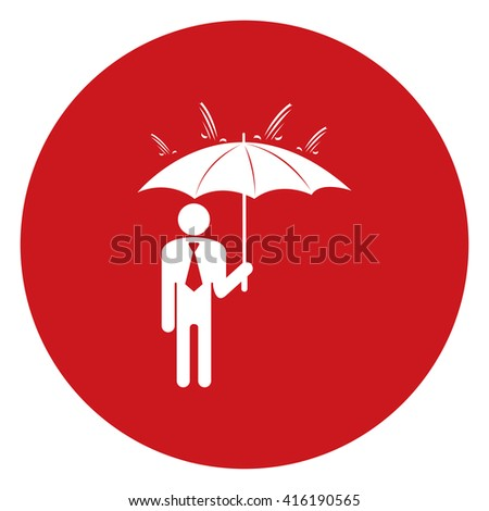 Red Simple Circle Businessman Hold Umbrella Infographics Flat Icon, Sign Isolated on White Background  - stock photo