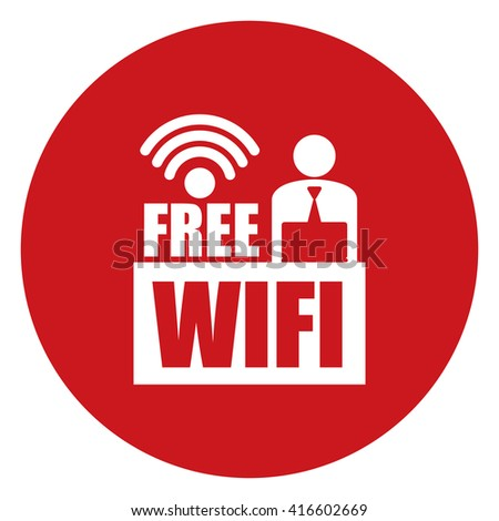 Red Simple Circle Businessman With Free Wifi Infographics Flat Icon, Sign Isolated on White Background  - stock photo