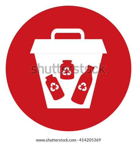 Red Simple Circle Glass Recycle Bin Infographics Flat Icon, Sign Isolated on White Background - stock photo