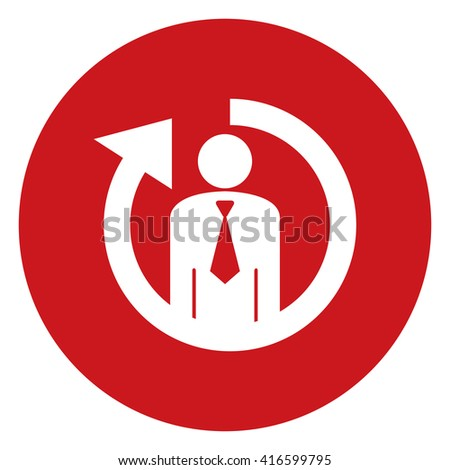 Red Simple Circle Staff or Employee Turnover Infographics Flat Icon, Sign Isolated on White Background  - stock photo