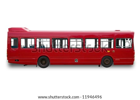 Red single deck bus / coach, isolated on a white background with clippings paths. Slight shadow has been added but can be easily removed by using the clipping path. - stock photo