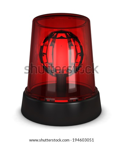 Red siren. 3d illustration isolated on white background