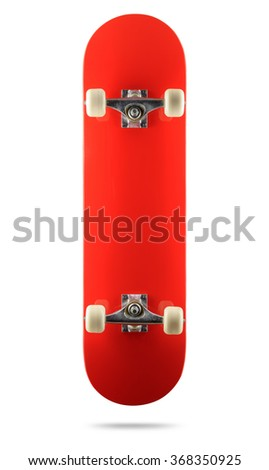 Red skateboard deck on white background, isolated path included