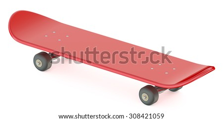 red skateboard isolated on white background - stock photo