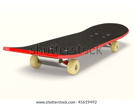 red skateboard on isolated background - stock photo