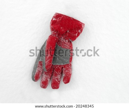 Red skiing glows on the white snow - stock photo