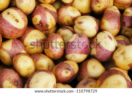 Red-skinned potatoes at a farmers' market - stock photo