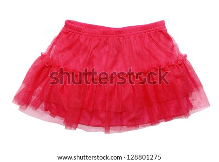 red skirt for  girl, isolated on white background - stock photo