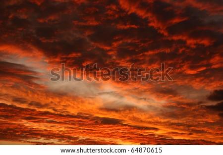 Red sky - stock photo