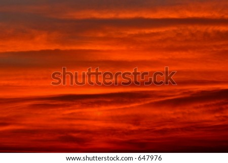 Red sky, after the sunset - stock photo