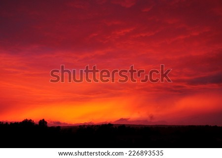 Red sky, night clouds, twilight background - stock photo