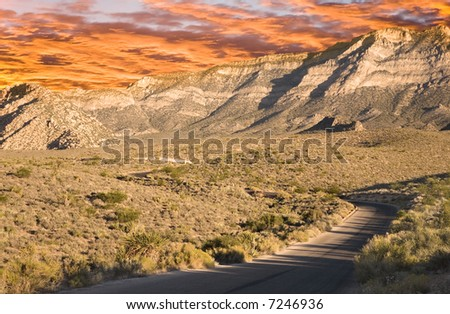 Red Sky over Red Rock Canyon, Nevada - stock photo