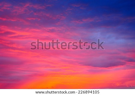 Red sky, twilight clouds background - stock photo