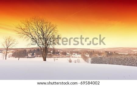 Red sky winter landscape - stock photo