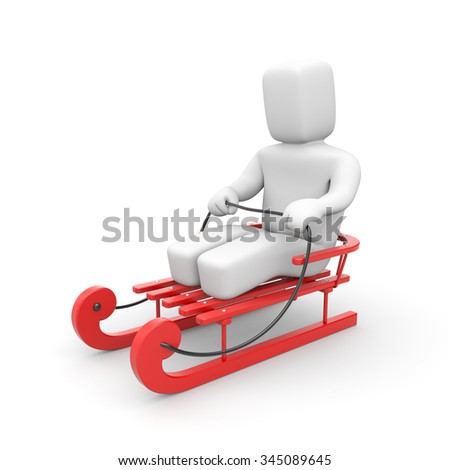 Red sled - stock photo