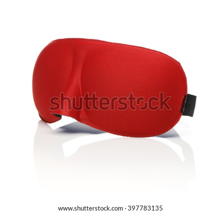 Red sleep mask isolated on white with reflection. - stock photo
