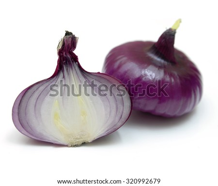 Red sliced onion isolated - stock photo