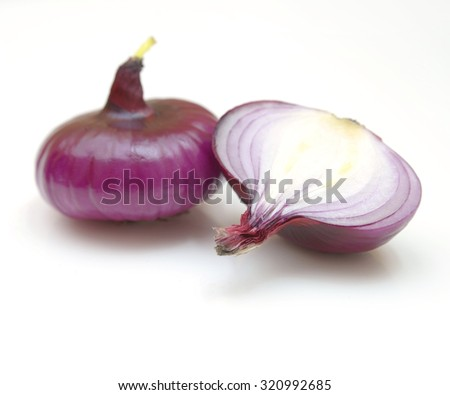 Red sliced onion isolated on white background - stock photo