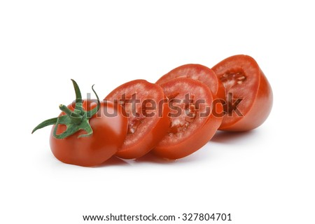 Red sliced tomato on white background - stock photo