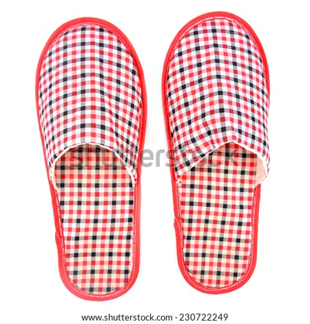 Red slippers isolated on a white background - stock photo