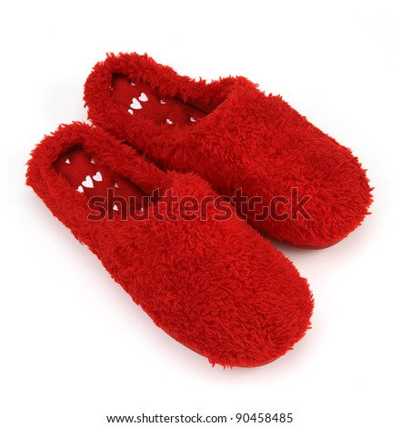 red slippers on white background