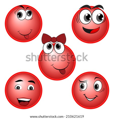 RED Smiles character set - stock photo