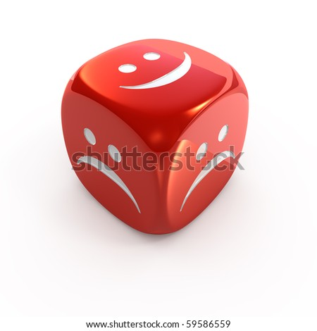 Red smiley dice - stock photo
