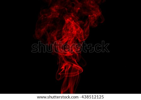 Red smoke abstract in black background isolated - stock photo