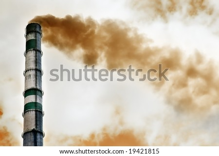 red smoke from chemical factory - stock photo